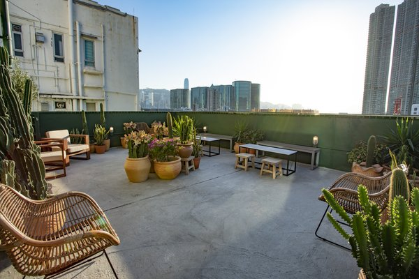 The rooftop deck looks out to city views.