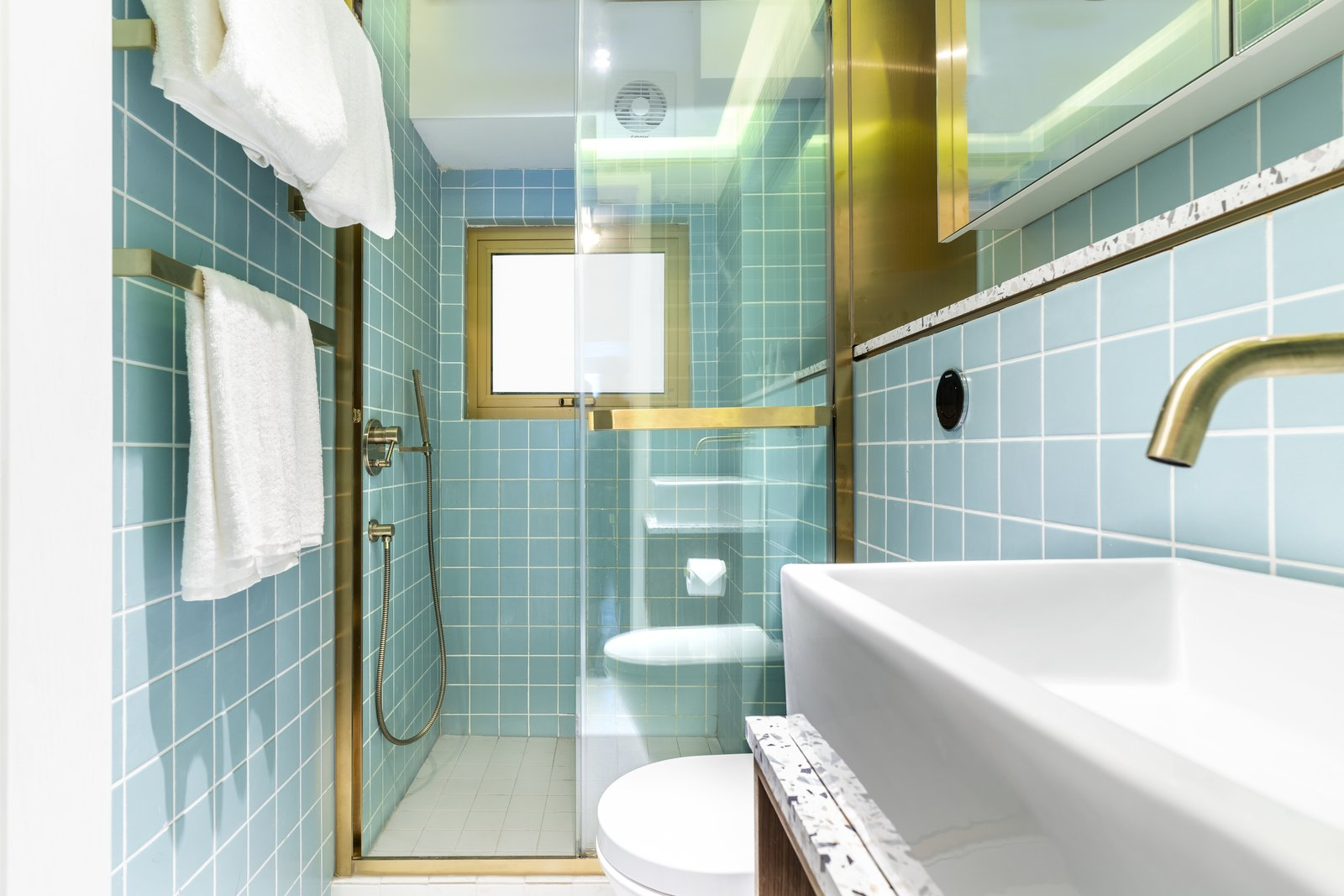 The Nate bathroom with blue tile