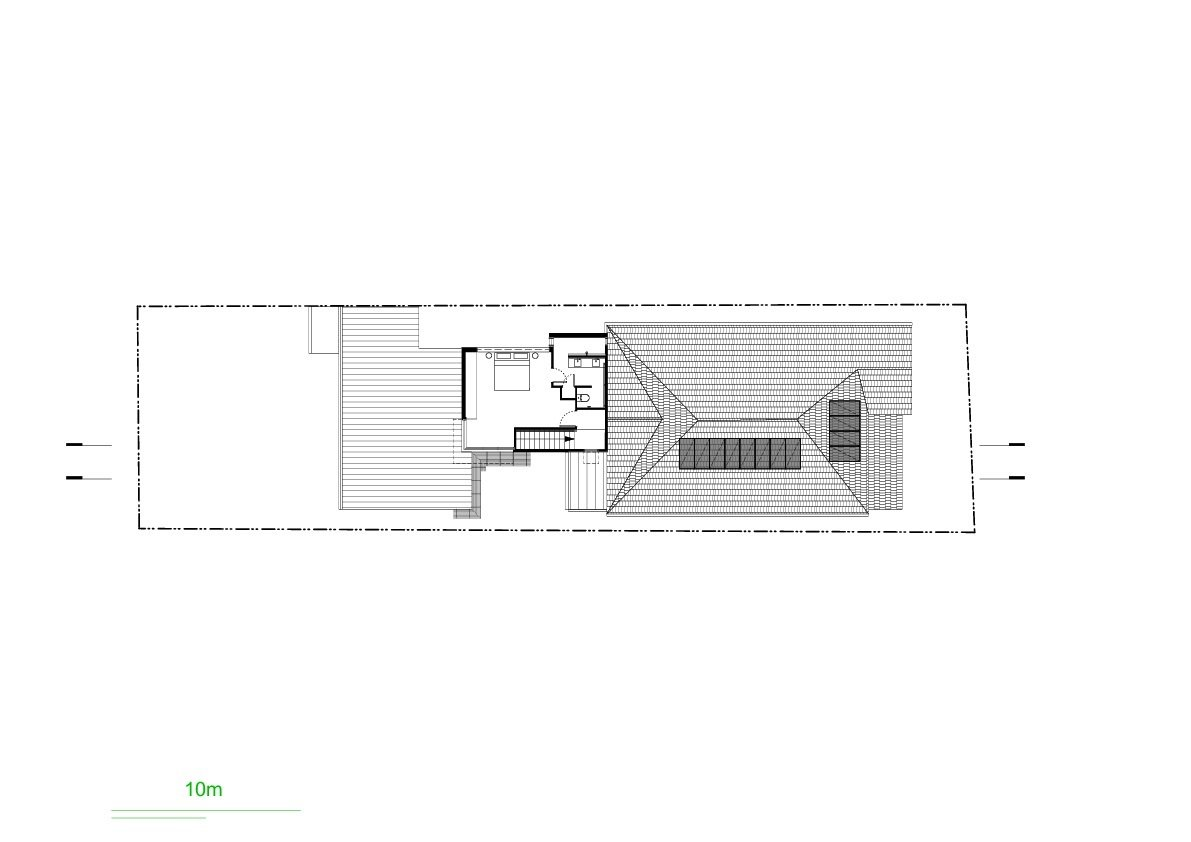 Suntrap House upper floor and roof plan drawing
