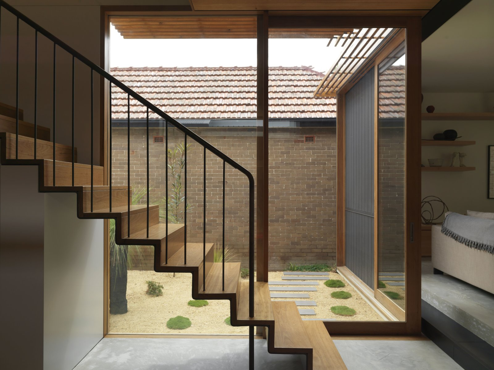 Suntrap House staircase and courtyard