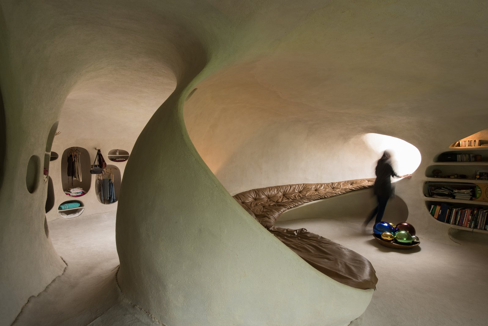 Organic House underground home bedroom