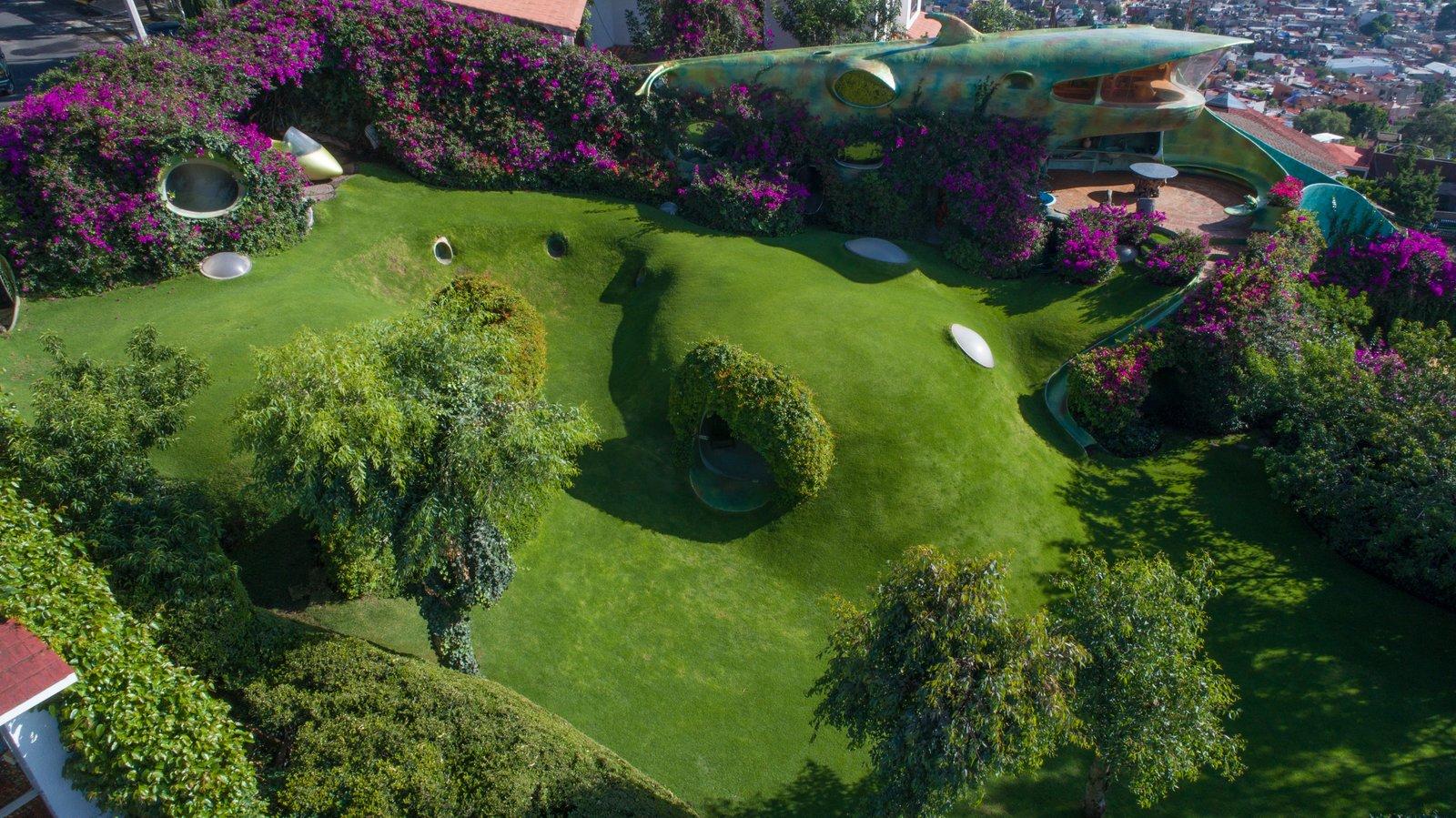 Organic House underground home aerial view