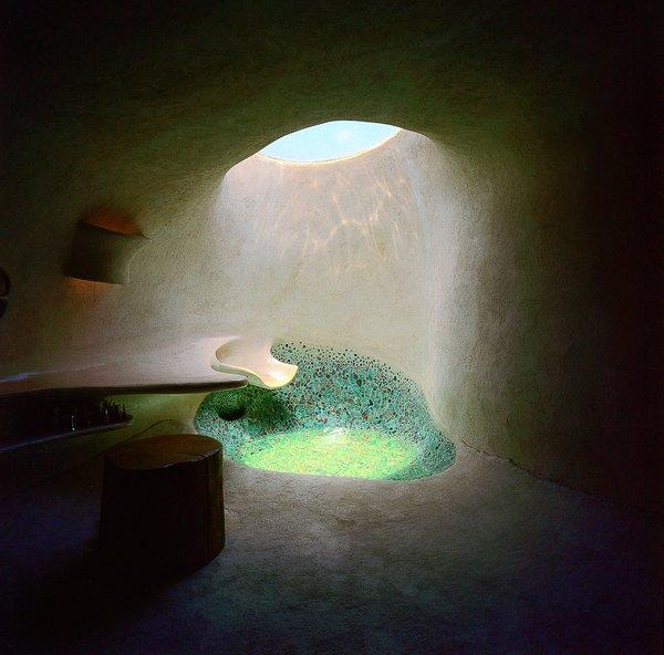 A skylit shower.