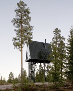 The cabins have exterior cladding of black oxidized zinc and steel, helping them blend into the surrounding forest.