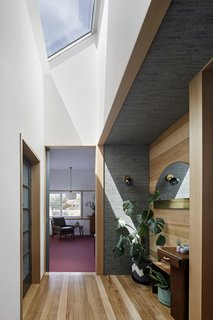 A skylight brightens the entryway.