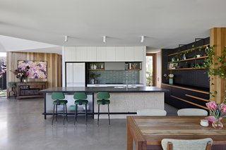 The addition's modern, open kitchen.