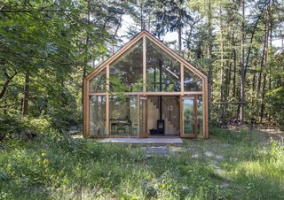 Exterior, Wood Siding Material, Metal Roof Material, Prefab Building Type, House Building Type, and Gable RoofLine Sculptor Lia Harmsen rents the dwelling to guests whenever she travels.�