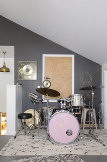 Creighton's music studio is located above the garage.