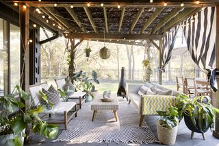 An outdoor lounge area in the backyard.