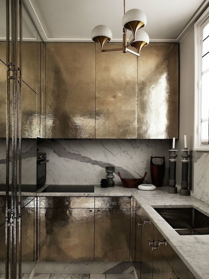 Going for Gold A small Parisian kitchen  Photo 4 of 11 in 10 Dreamy Parisian Homes from Kitchen