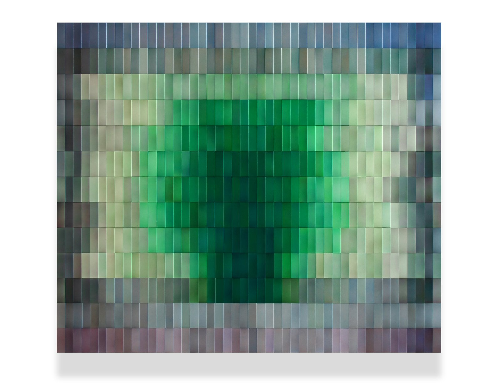 """Emerald Fluorite"", Wall Artwork, for private Residence  39""h x 46""w, 2""d layered, colored metal tiles on wood panel  Cascade Series"