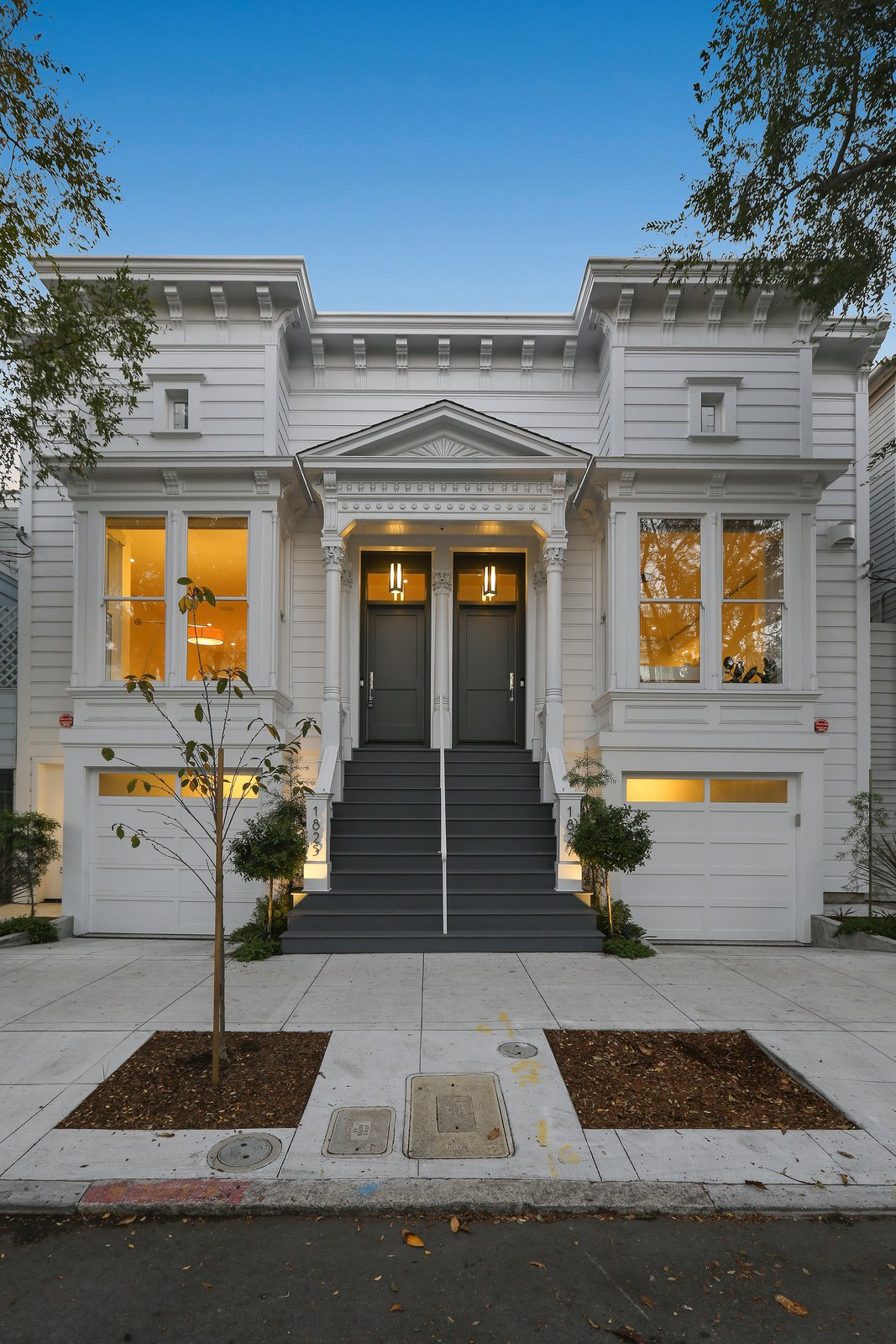 Front facade at night  Lower Pacific Heights by patrick perez/designpad architecture