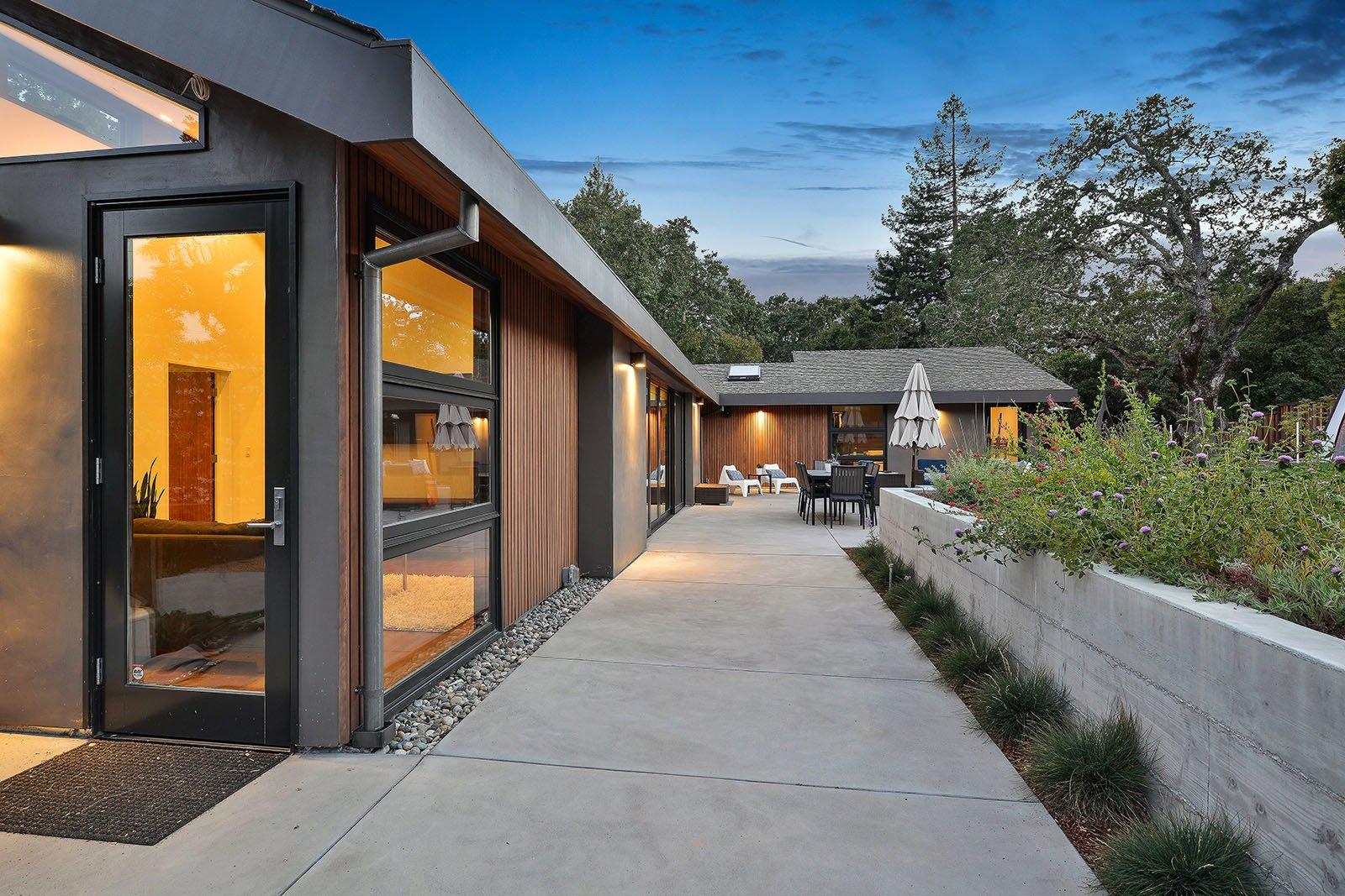 Outdoor, Back Yard, Concrete Patio, Porch, Deck, and Walkways Rear yard   Portola Valley by patrick perez/designpad architecture