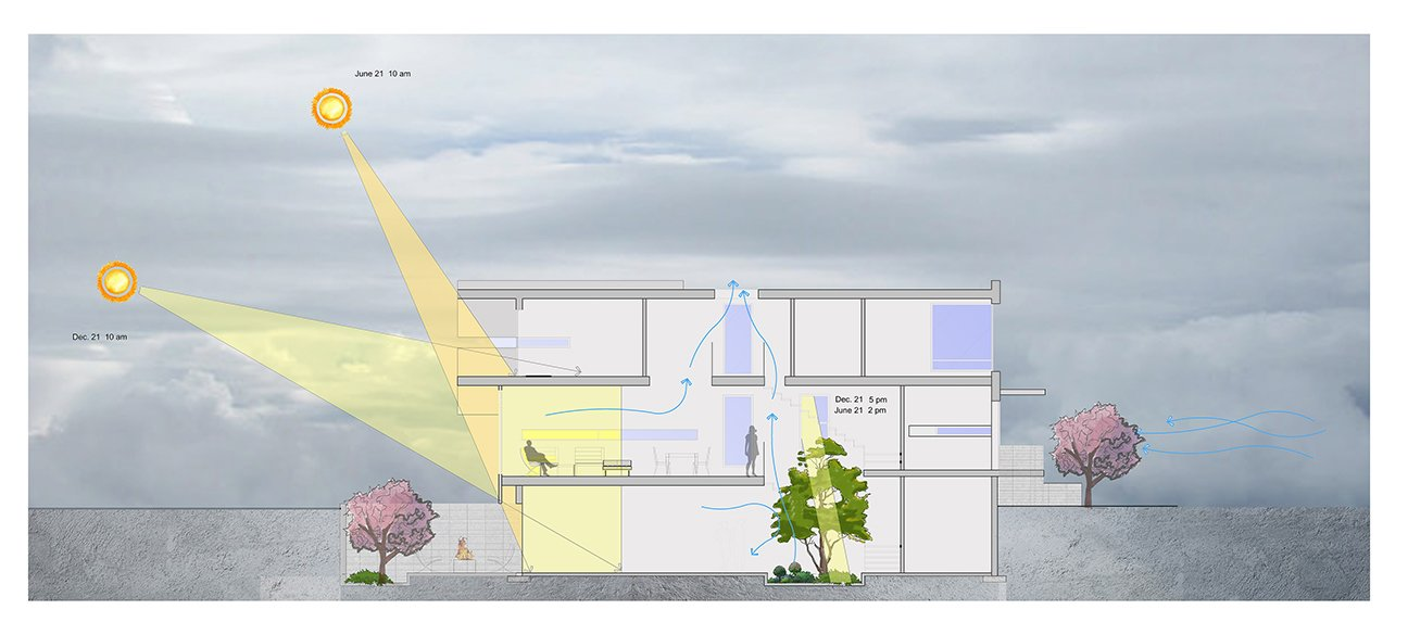 Section of Light and Wind Controlling   Garden Void House by Alva Roy