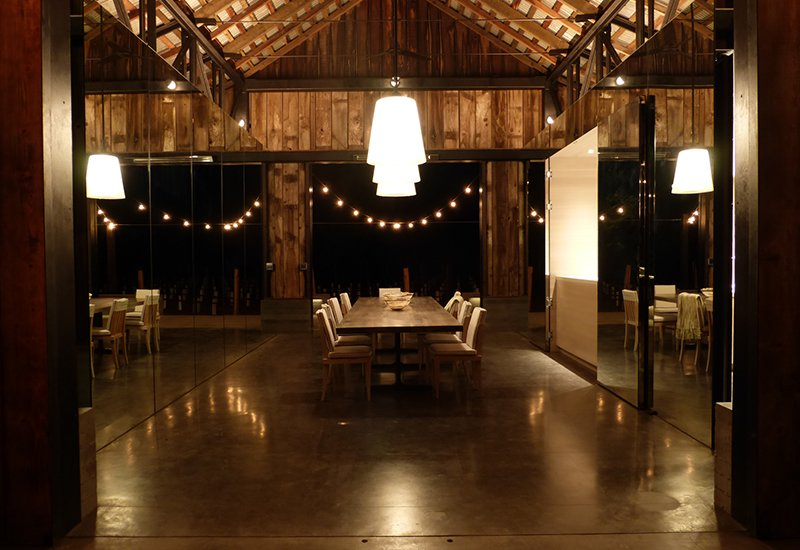 Dining Room, Concrete Floor, Pendant Lighting, Chair, and Table Napa Vineyard Barn  Wine Country Homes