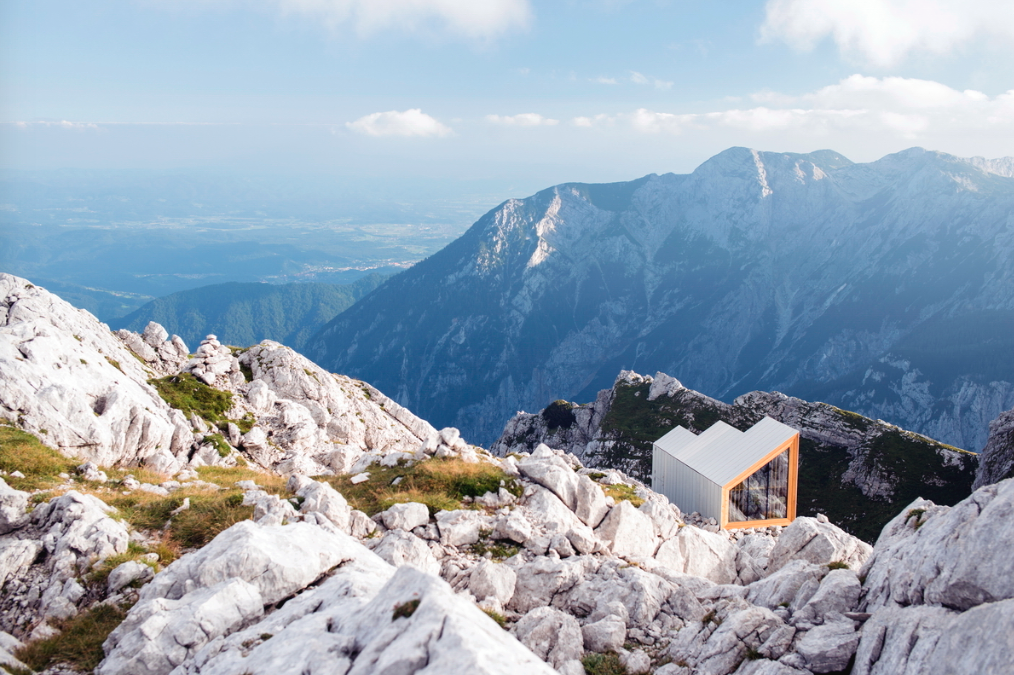 Exterior, Tiny Home Building Type, Shed RoofLine, Cabin Building Type, and Glass Siding Material OFIS arhitekti + AKT II + Harvard GSD Students, Alpine Shelter Skuta Mountain  Cabins & Hideouts from Slovenian mountain shelters and bivouacs