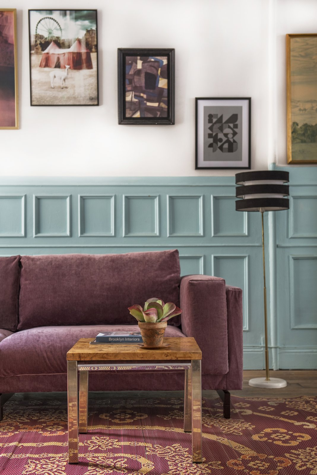 Living Room, Sofa, Coffee Tables, and Floor Lighting IKEA Nockeby sofa with a Bemz cover in Clover velvet.  Photo 6 of 11 in These 5 Interior Design Trends Will Reign Supreme in 2018 from Vintage velvet