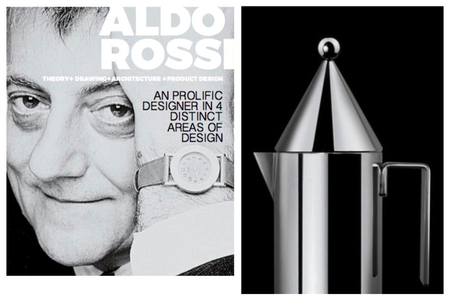 Left: Portrait Of Aldo Rossi, Right: Alessi La Conica Coffee pot, 1980-83  Photo 2 of 10 in Inspiring Icons/ Aldo Rossi
