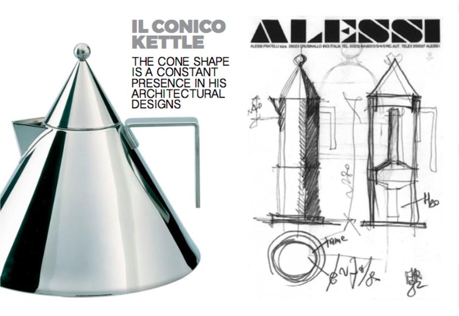 Left: Il Cinco Kettle, Right: Sketches of the La Conica Coffee pot for Alessi  Photo 3 of 10 in Inspiring Icons/ Aldo Rossi