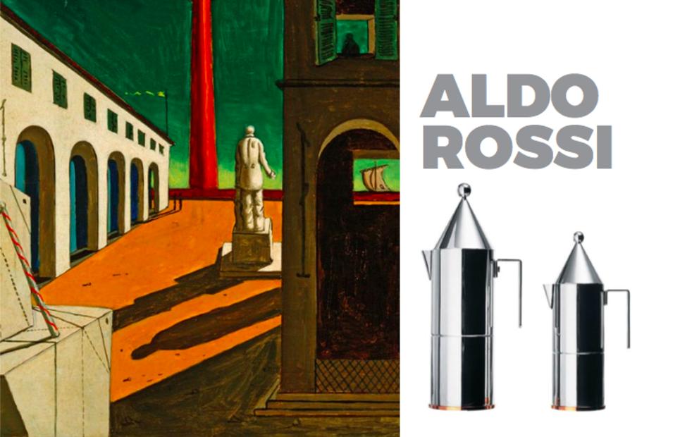 Left: Painting bt Aldo Rossi, Right La Conica Coffee pot for Alessi  Photo 4 of 10 in Inspiring Icons/ Aldo Rossi