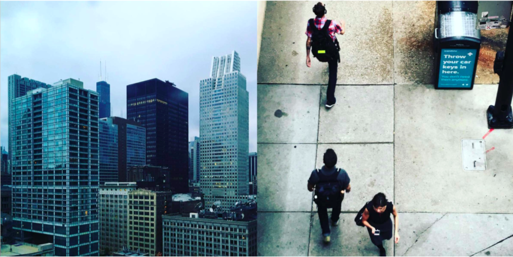 Left: The skyscrapers are amassed in Chicago, Right: The 9-5 commuters on the streets  Photo 2 of 7 in Instagram / Chigago / Illinois