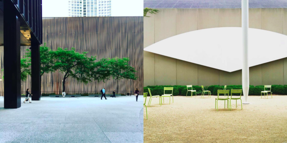 Left: The Mies forecourt with an amazing tree, Right: Ellsworth Kelly at The Chicago Institute of Art, a must see!  Photo 6 of 7 in Instagram / Chigago / Illinois