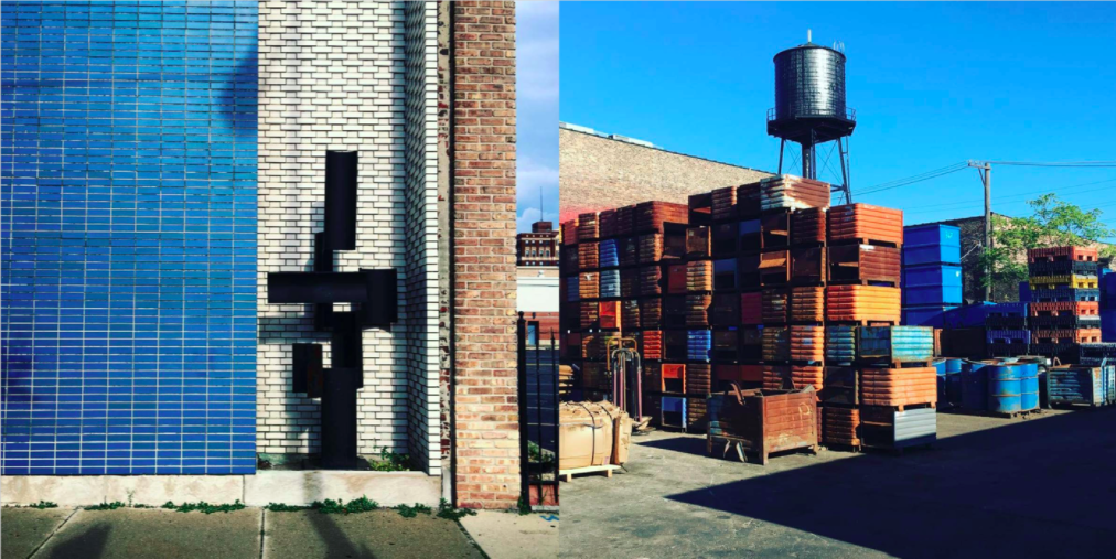 Left: Blue tiled wall, north of the city on Broadway with Brutalist sculpture, Right: Shipping yards  Photo 7 of 7 in Instagram / Chigago / Illinois