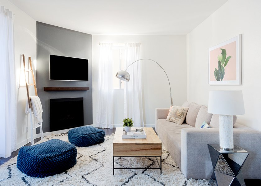 Souk Wool Rug: West Elm. Bubble Knit Poufs: West Elm. Pink Cactus Print: Minted; Source: Amy Bartlam/Parachute  Photo 2 of 11 in How to Design an Apartment You and Your Roommate Love