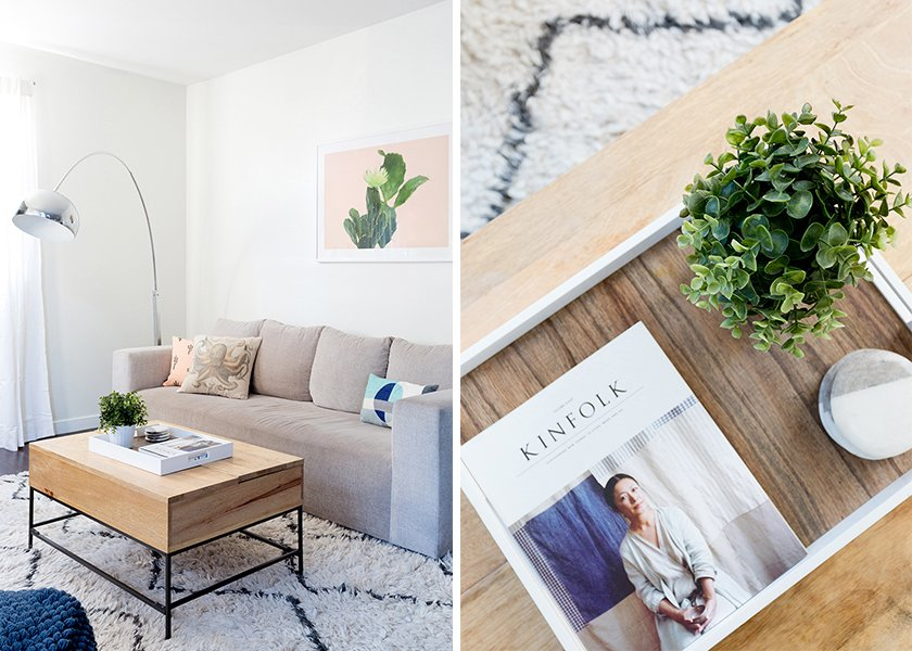 Industrial Storage Coffee Table: West Elm. Walton Sofa: West Elm. Throw Pillows: World Market; Source: Amy Bartlam/Parachute  Photo 3 of 11 in How to Design an Apartment You and Your Roommate Love