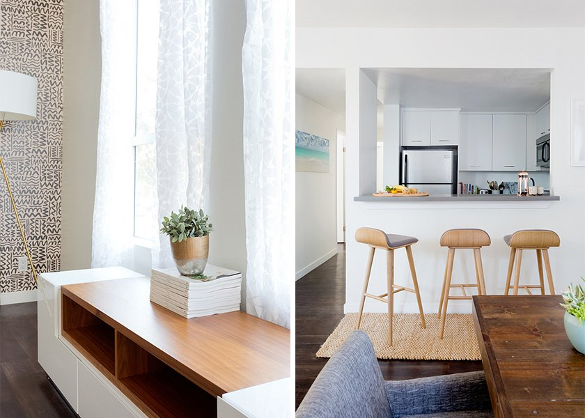 Pata TV Stand: AllModern. Sede Bar Stools: Article. Natura Hand Spun Jute Runner: Rugs USA; Source: Amy Bartlam/Parachute  Photo 4 of 11 in How to Design an Apartment You and Your Roommate Love