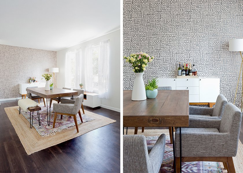 Big Moon Wallpaper: JuJu Papers. Modern Buffet: West Elm. Natura Hand Spun Jute Rug (bottom): Rugs USA; Magical Thinking Hana Kilim Printed Rug (top): Urban Outfitters; Source: Amy Bartlam/Parachute  Photo 6 of 11 in How to Design an Apartment You and Your Roommate Love