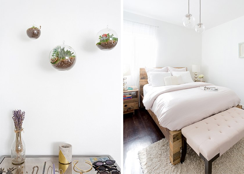 Mirrored Weathered Oak Chest: Pier 1. Terrariums: similar. Emmerson Reclaimed Natural Wood Bed: West Elm. Globe Pendant Chandeliers: West Elm. Bench: similar; Source: Amy Bartlam/Parachute  Photo 10 of 11 in How to Design an Apartment You and Your Roommate Love