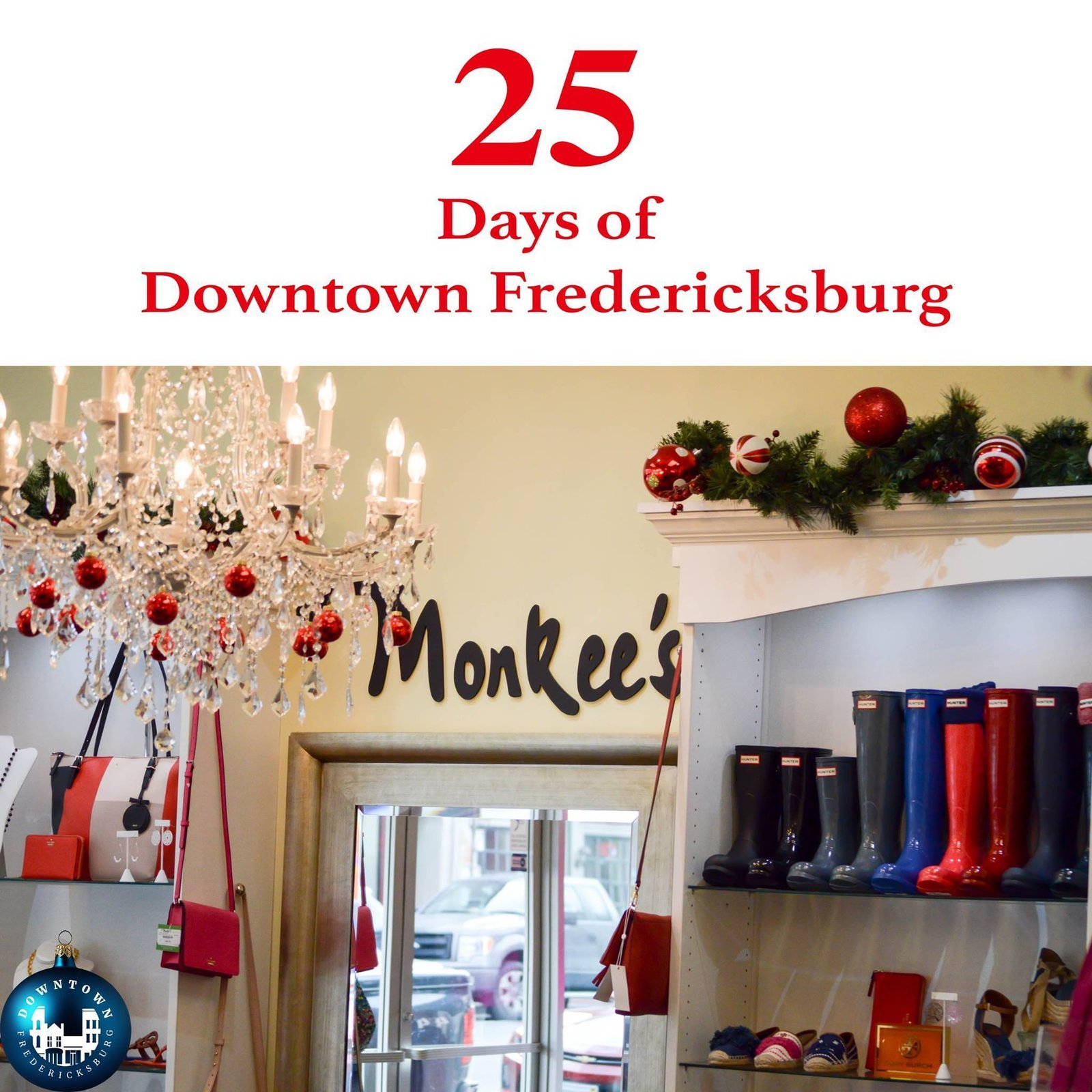 Gift Twenty-four Hunter, Barbour, and Lilly make the season bright! If you are last minute holiday shopping today, Monkee's of Fredericksburg has you covered. https://www.facebook.com/DowntownFredericksburg/  25 Days of Downtown Fredericksburg