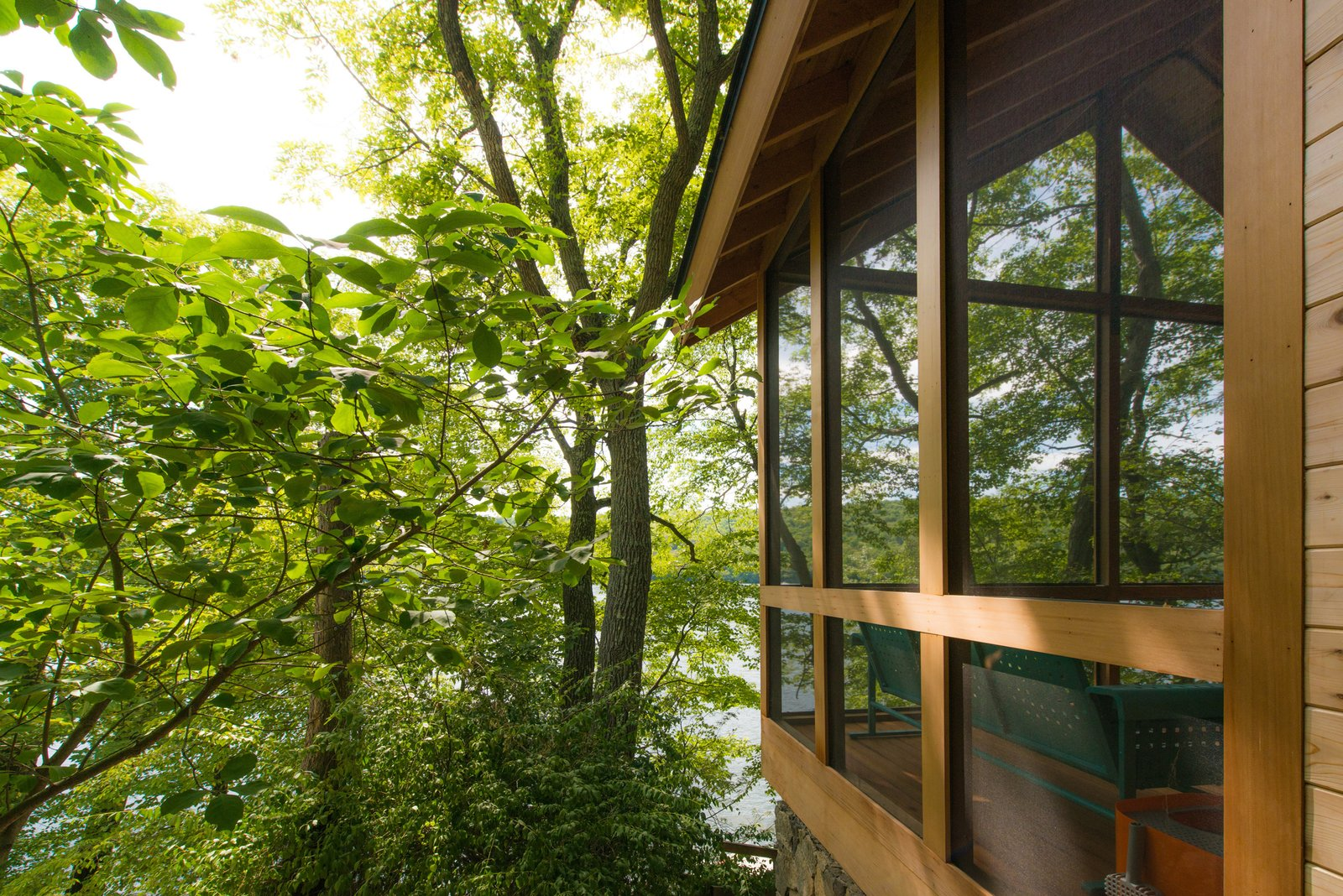 The enclosed Porch  Putnam Valley Lake House by LEAD
