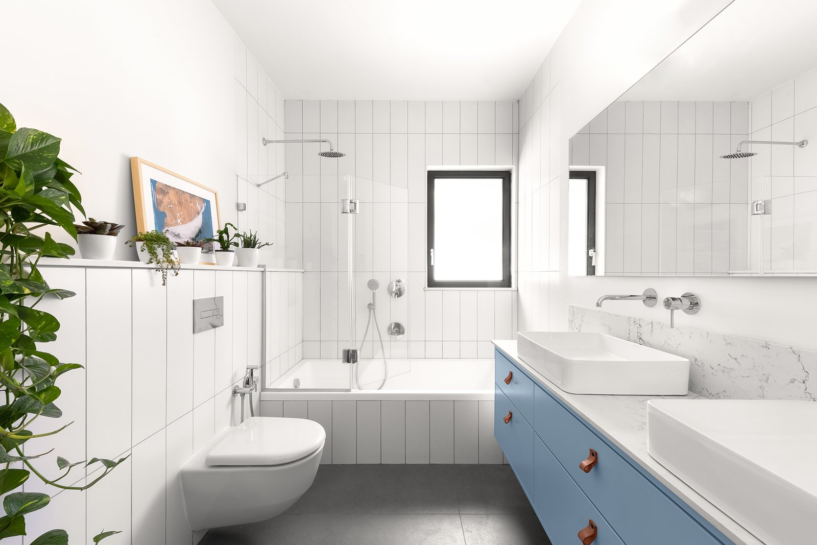 Bath, Subway Tile, Wood, Ceramic Tile, Marble, Vessel, One Piece, Ceramic Tile, Ceiling, and Open Ravit Dvir Architecture and Design  Bath Ceramic Tile Subway Tile One Piece Photos from The house in Mei Ami