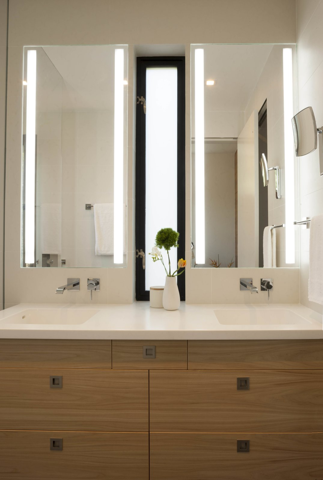 Bathroom vanity with integral Corian counter and sinks  Beverley Master Bedroom Suite Addition by Kathryn A. Rogers