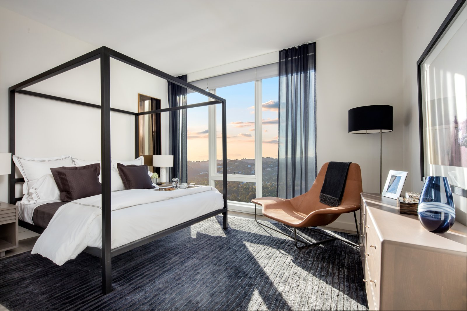 From the living area to the sprawling bedrooms and bathrooms, Mitchell Freedland's vision was to seduce the eye and calm the senses, and in that his palette succeeds while also successfully creating the feeling of home.  Ten Thousand Unveils First Look at Life Inside the Elegant Los Angeles Tower