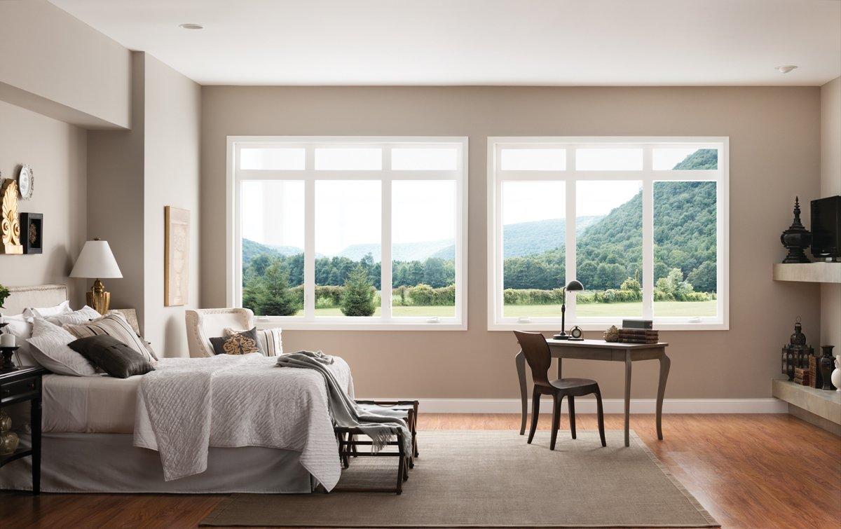 Creates a sleek, contemporary look.  Style Line Series Vinyl Windows