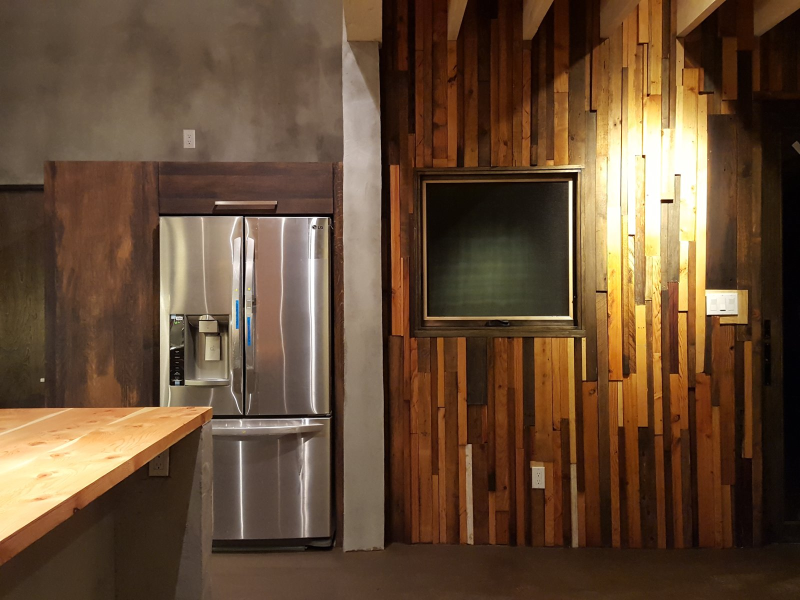 Kitchen, Wood Counter, Refrigerator, Wood Cabinet, and Track Lighting Kitchen/Dining  Santa Fe East Side Home by Ju Tan