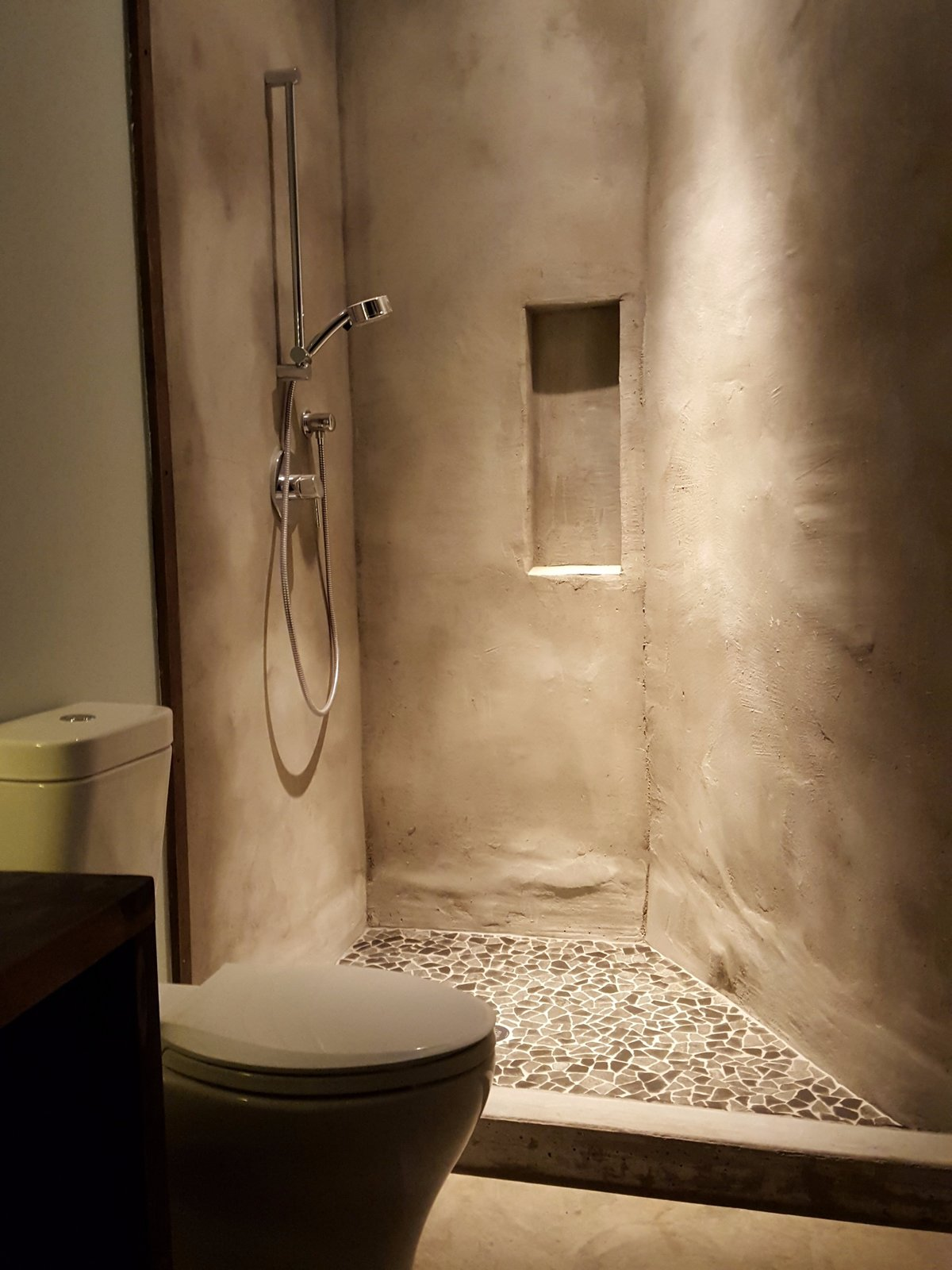Bath Room, Wood Counter, Concrete Floor, Open Shower, Recessed Lighting, Concrete Wall, and Two Piece Toilet Guest Shower  Santa Fe East Side Home by Ju Tan