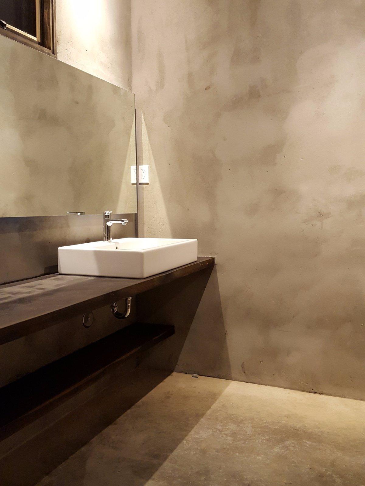 Bath Room, Wood Counter, Concrete Floor, Vessel Sink, Ceiling Lighting, Recessed Lighting, and Concrete Wall Master Bath Vanity  Santa Fe East Side Home by Ju Tan