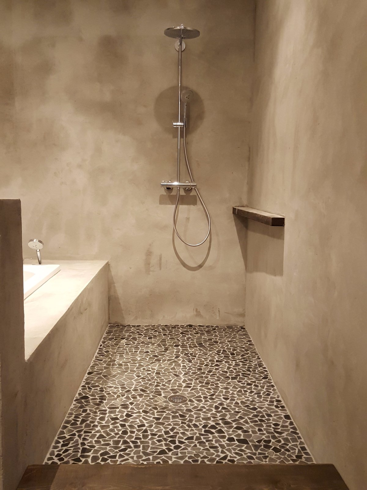 Bath Room, Concrete Floor, Drop In Tub, Open Shower, Ceiling Lighting, Recessed Lighting, and Concrete Wall Master Bath Shower  Santa Fe East Side Home by Ju Tan