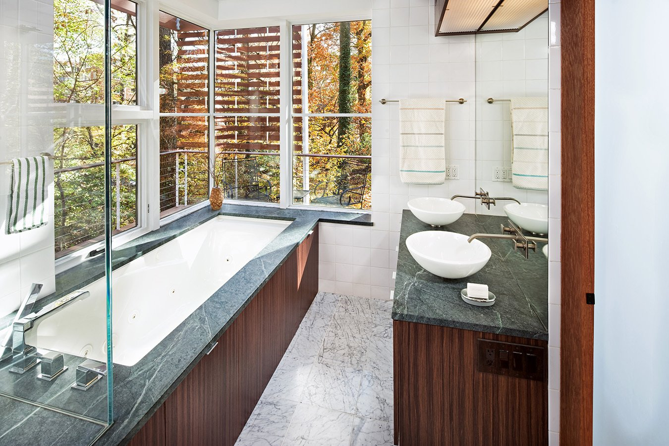 Bath Room, Granite Counter, Limestone Floor, Concrete Floor, Drop In Sink, Undermount Tub, Open Shower, Ceiling Lighting, Wall Lighting, Recessed Lighting, Subway Tile Wall, and One Piece Toilet Master Bath  Home for Sale: Takoma Park House