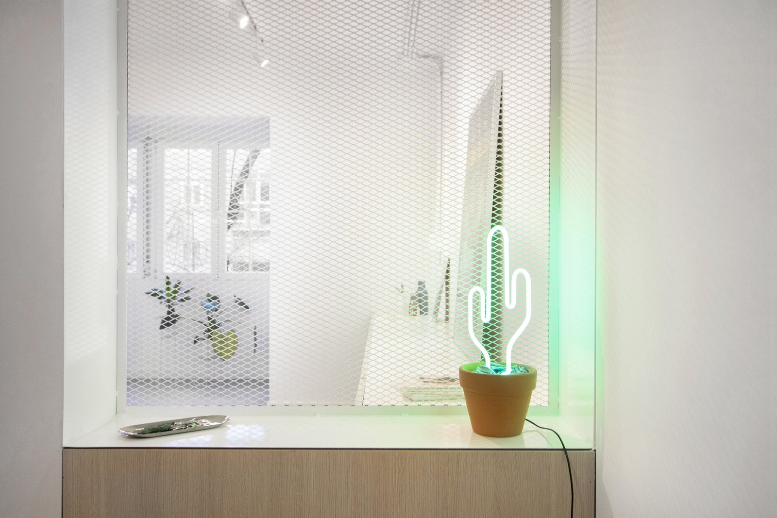 Living Room, Table Lighting, Lamps, Media Cabinet, Storage, and Concrete Floor 014.CASA PEX  014.PEX 114 - Apartment Renovation by estudio AMÁSL