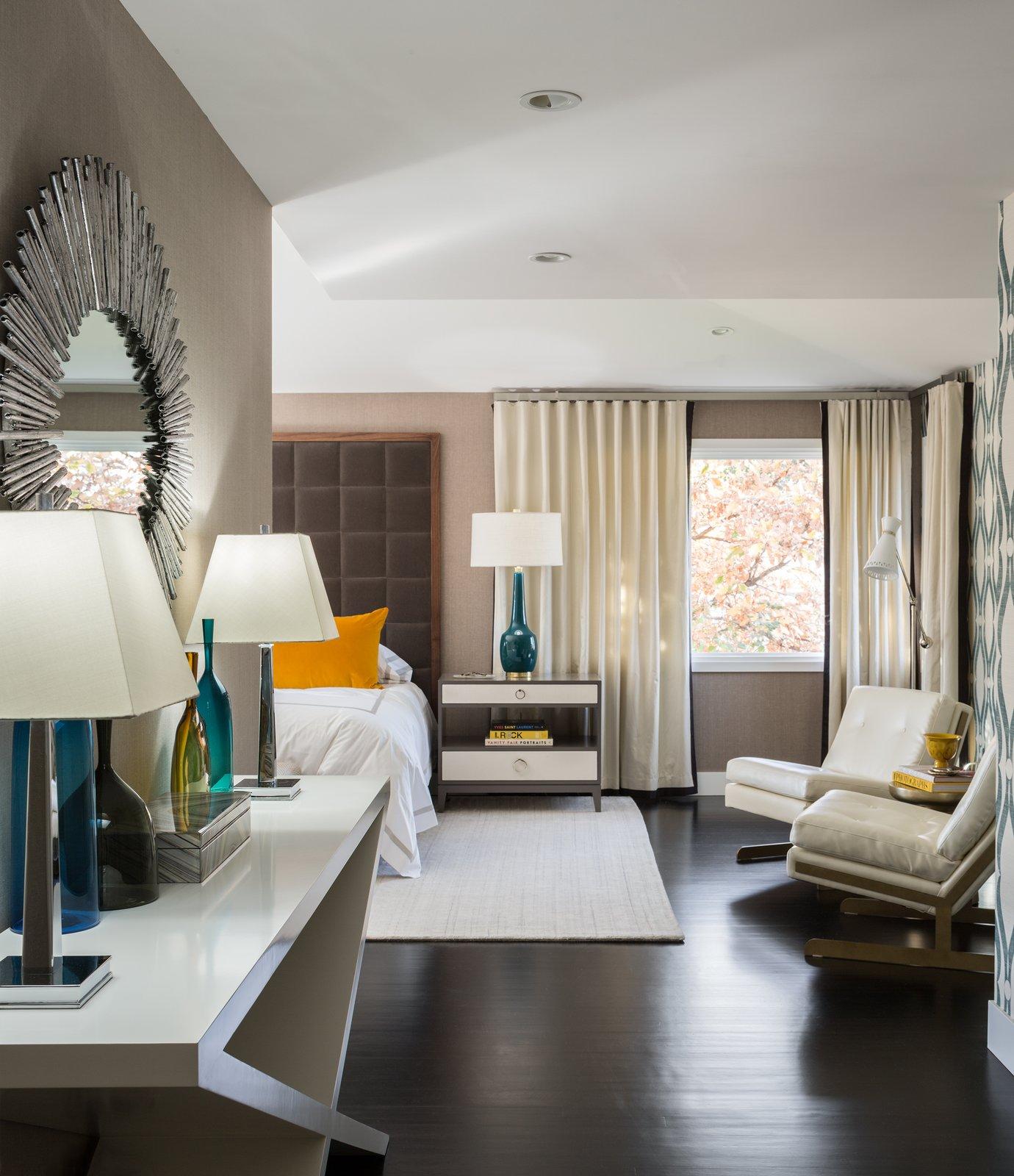 Bedroom, Dresser, Bed, Chair, Ceiling Lighting, and Dark Hardwood Floor Master Bedroom  Donner Residence by Design Platform