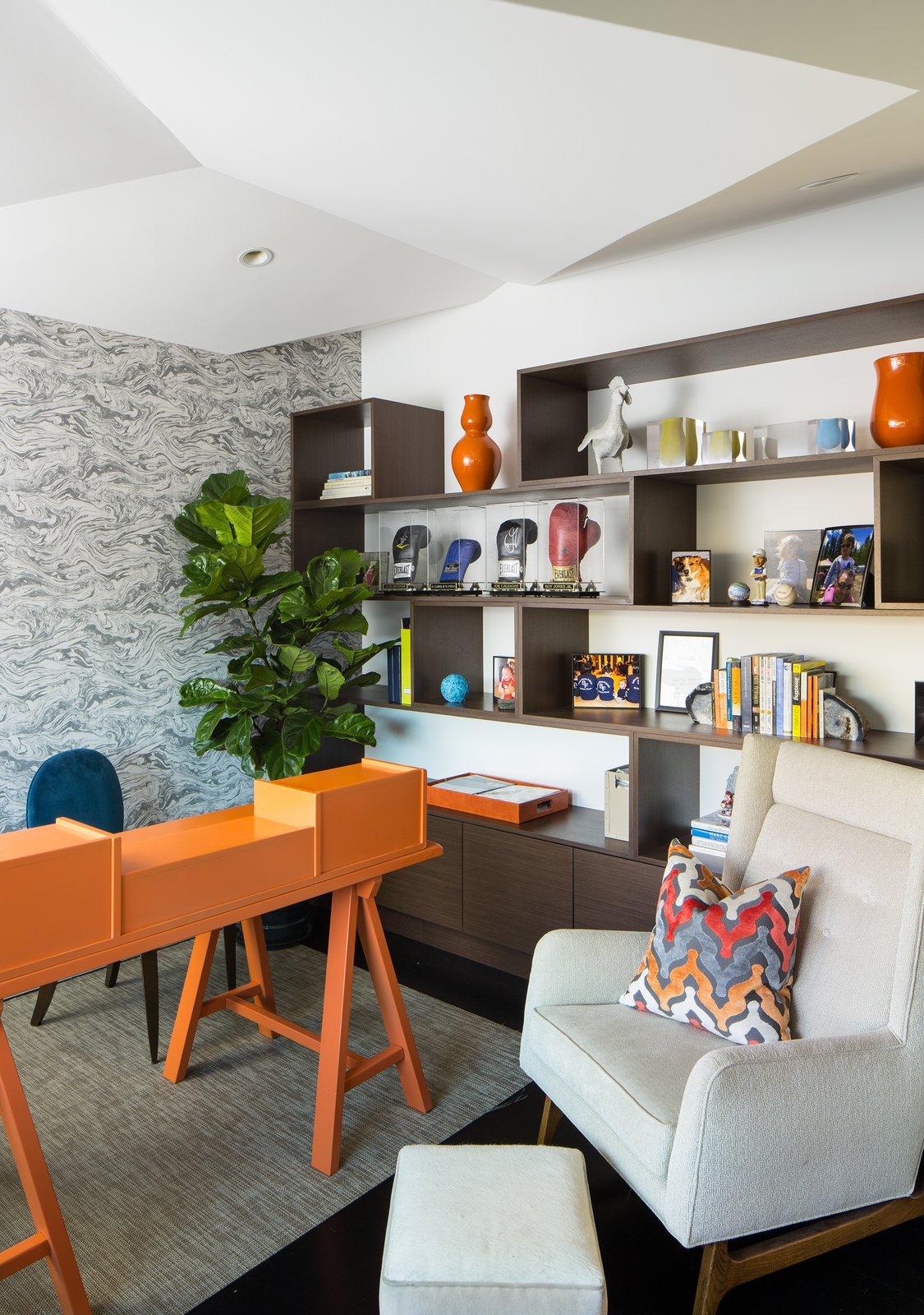 Office, Study Room Type, Bookcase, Desk, Chair, Shelves, and Dark Hardwood Floor Office  Donner Residence by Design Platform