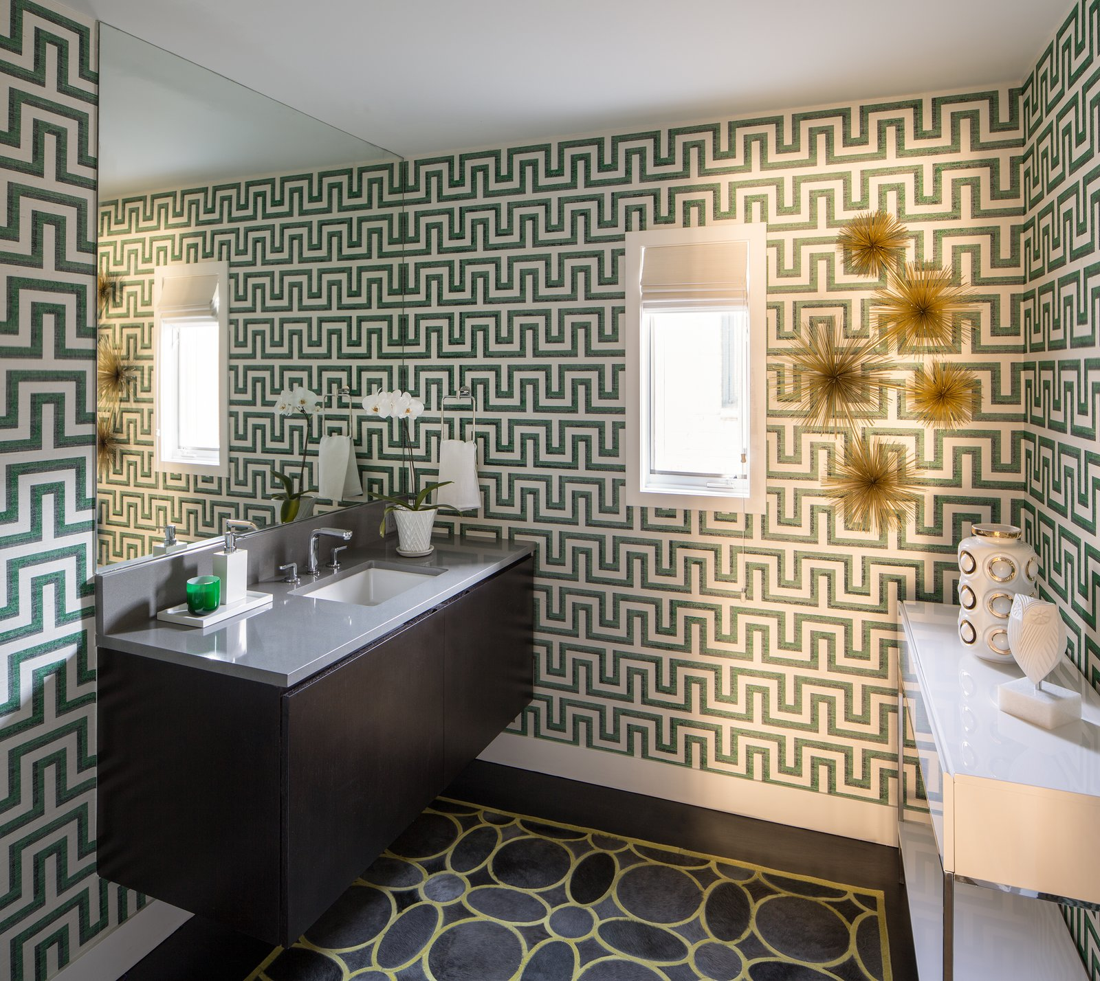 Bath Room, Engineered Quartz Counter, Dark Hardwood Floor, Undermount Sink, and Ceiling Lighting Powder Room  Donner Residence by Design Platform