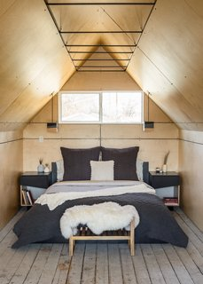 Bedroom - Birch Wall and Ceiling Panels. Lights and Nightstands by Platform Workshop. www.platformworkshop.com