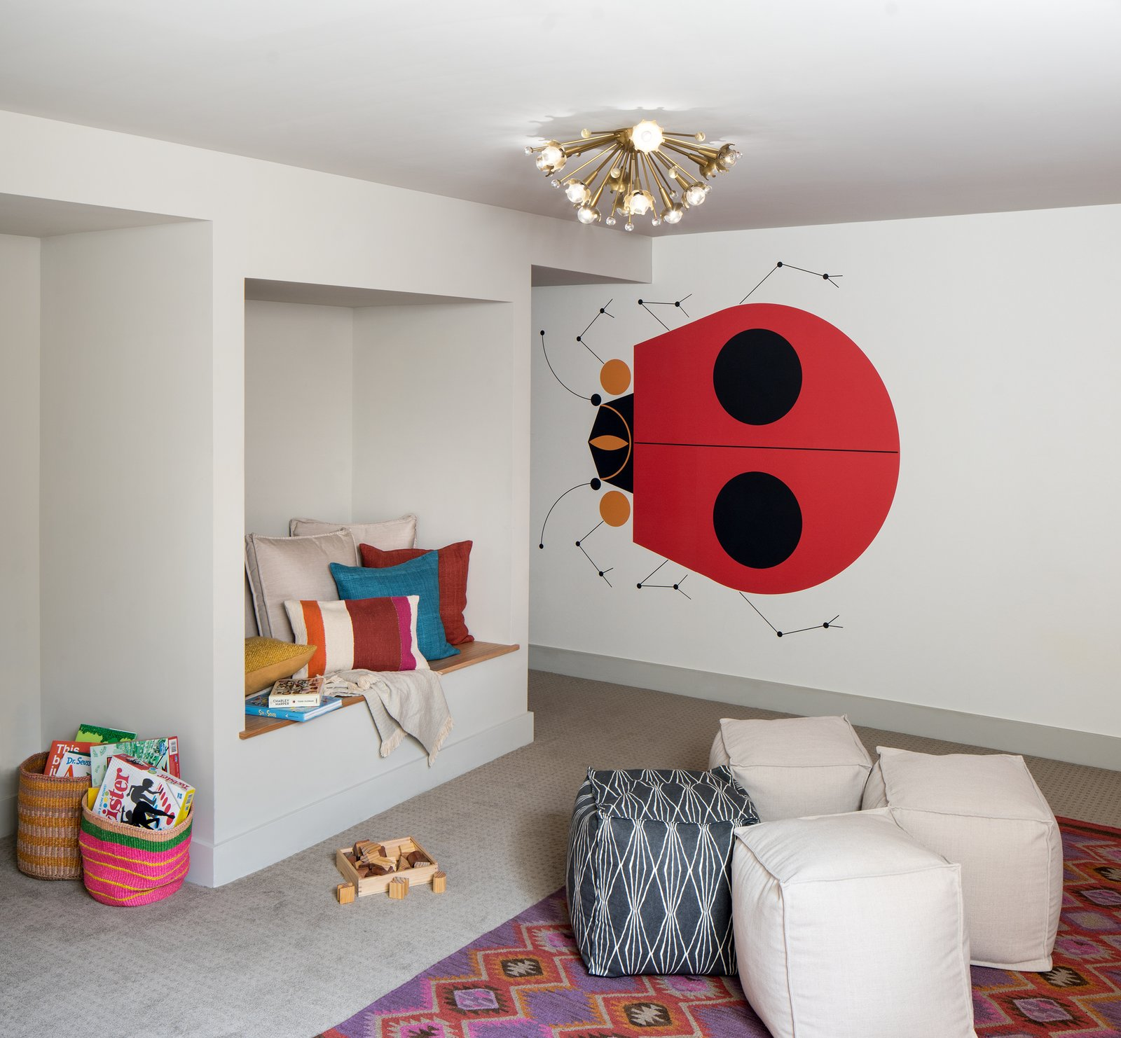 Kids, Playroom, Pre-Teen, Neutral, Storage, Bench, and Carpet Kids playroom with Charlie Harper wallpaper.   Best Kids Carpet Photos from Forest Residence