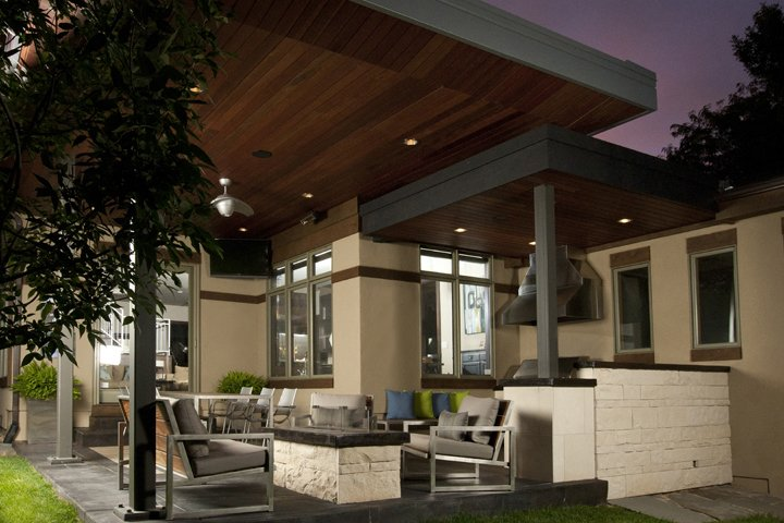 Outdoor, Back Yard, Large Patio, Porch, Deck, Wood Patio, Porch, Deck, Concrete Patio, Porch, Deck, and Metal Patio, Porch, Deck Living area with custom stone and concrete fireplace.   Hudson Patio